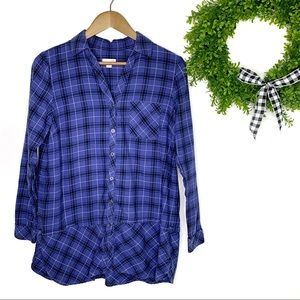 J. Jill Plaid Tiered Button Front LS Tunic Top S